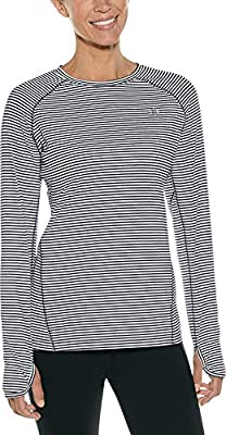 Coolibar UPF 50+ Women's Devi Long Sleeve Fitness T-Shirt - Sun Protective (Small- Fine Black/White Stripe)