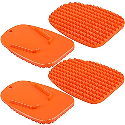 4 Pieces Orange Motorcycle Kickstand Motorcycle Foot Support Plate Motor Bike Support Stand Motor Anti-Slip Plate Parking Pad Accessory for Park Your Bike in the Snow Slippery Road Hot Road Grass Sand from Frienda