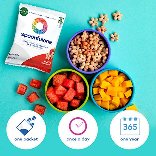 SpoonfulOne Early Allergen Introduction Puffs | Smart Feeding Snack for an Infant or Baby 6+ Months | Certified Organic (Strawberry - 14 Pack)