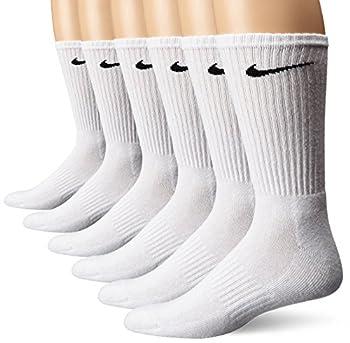 NIKE Unisex Performance Cushion Crew Socks with Band  6 Pairs  White/Black Medium