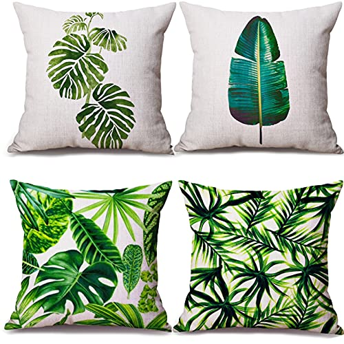 Funda cojin RiyaNed, 4 Fundas de Almohada Decorativas, Funda de Almohada con Estampado de Plantas Tropicales, Muy Adecuada para decoración de jardín, sofá, Dormitorio y Coche.