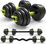 3-in-1 Adjustable Weight Dumbbells Barbell Set with Curved Rod Weight Set of 5/10/15/20/33/44, 66 lbs for Adult Men Women Gym Workout Strength Training with Curl Rod Used as Barbell, AB Roller (33)