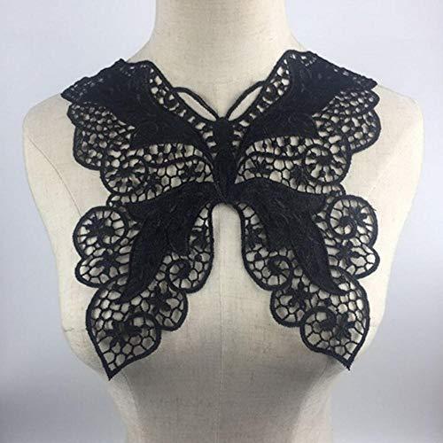 Vintage vlinder originele kanten kraag jurk naaien ambachtelijke hals trui hals kraag kraag stoffen versieringen, zwart