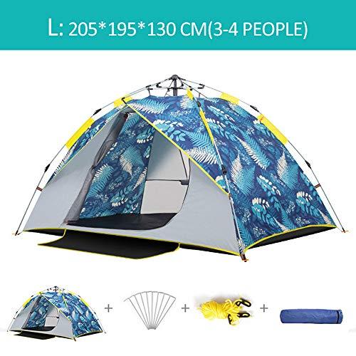 DOLA Draussen Campingzelt für Familien, tragbares Strandzelt für alle Jahreszeiten, Zelt Wasserdicht Windproof Sundome,Blau,L