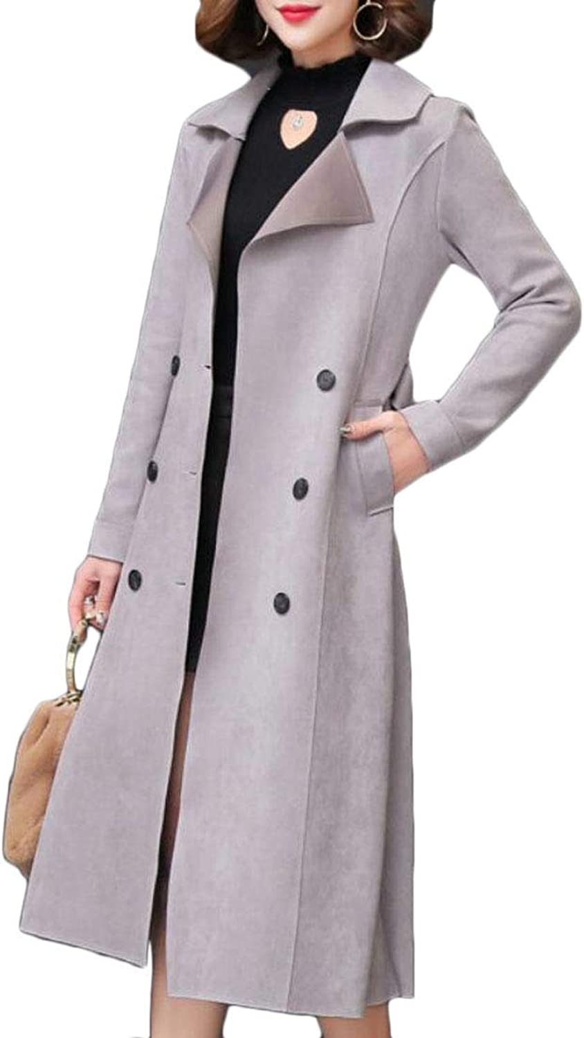 Rrive Women's Faux Suede Stylish Overcoat DoubleBreasted Belted Long Trench Coat