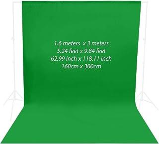 Rubik Chroma Key Green Screen Photography Backdrop Background Cloth for Photo Studio, Non-reflective Fabric (1.6 x 3 Meters)