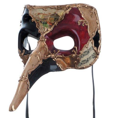 PARTY DISCOUNT Maske Pantalone mit Musiknoten