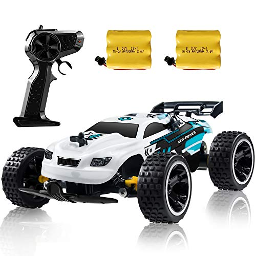 Sinovan RC Racing Car, 2.4Ghz High Speed Remote Control Car, 1:18 2WD Toy Cars Buggy for Boys & Girls with Two Rechargeable Batteries for Car, Gift for Kids (White)
