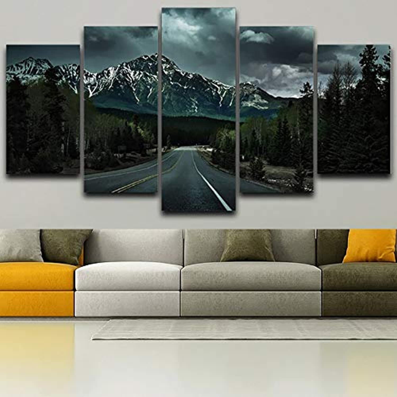 Wall Living Room Printed Pictures Home Decor Canvas 5 Panel Dark Mountains Sky Scenery Modern HD Frame Painting Posters