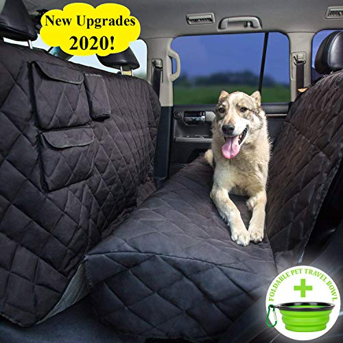 Tapiona XXL Dog Seat Cover - Truck & SUV Extra Coverage Back Seat Cover - 63Wx94L XXL Pet Hammock - Heavy Duty, Waterproof, Nonslip, No Odor, Seat Anchors, Washable + Pet Travel Bowl