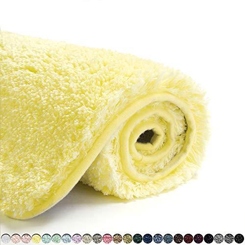Suchtale Bath Rug for Bathroom Non Slip Bathroom Mat (20 x 32, Yellow) Water Absorbent Soft Microfiber Shaggy Bathroom Rug Machine Washable Bath Mat for Bathroom Thick Plush Shower Mat