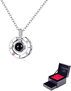 Feili Woman Necklace Love Memory 925 Silver Projection Pendant 100 Languages I Love You to Lover Grilfriend ¡