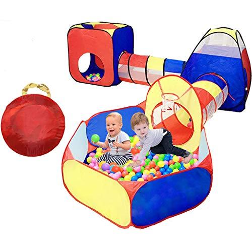 Tienda de juegos para niños de 5 piezas, 2 pasillos para gatear y 2 hoyos para pelotas. La carpa de casa de juegos emergente, con aro de baloncesto, se puede usar en interiores y exteriores, y viene