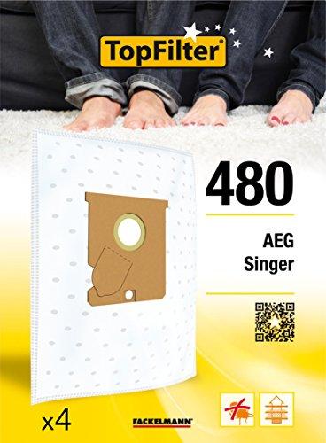 TopFilter 480, 4 sacs aspirateur pour AEG et Singer boîte de sacs d'aspiration en non-tissé, 4 sacs à poussière (30 x 26 x 0,1 cm)