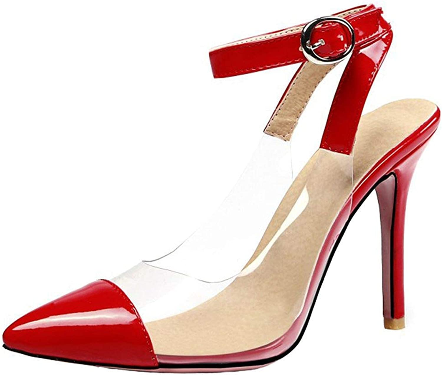 Ghssheh Women's Sexy Splicing Pointed Toe Buckle Ankle Straps Stiletto High Heels Sandals Red 4 M US