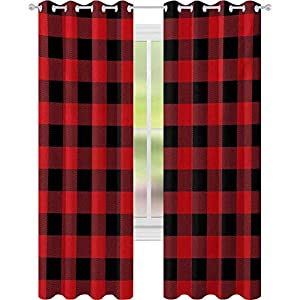 Crib Bedding And Baby Bedding Window Treatments Curtains, Lumberjack Fashion Buffalo Style Checks Pattern Retro Style With Grid Composition, W52 X L72 Curtains For Baby Nursery Room, Scarlet Black