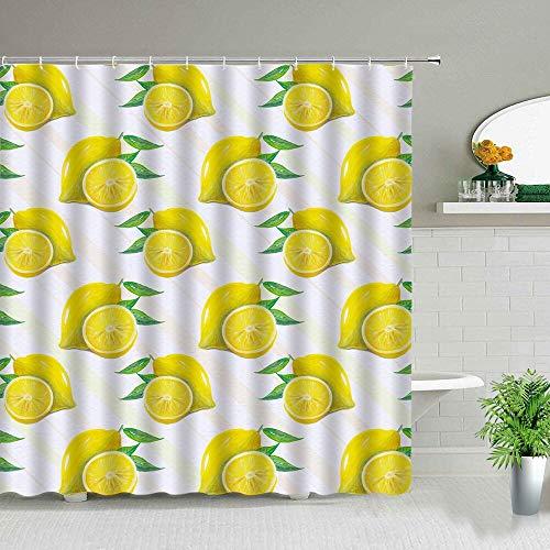 XCBN Cortina de Ducha de Frutas de Verano exótica Flor de limón Amarillo patrón de Hoja Verde decoración de baño Impermeable Cortinas de baño A4 180x200cm