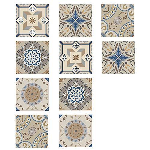 EasyLife 10 pegatinas para azulejos de pared con lentejuelas para decoración del hogar, 20 x 20 cm, impermeables y autoadhesivas, para cocina y baño(D06)