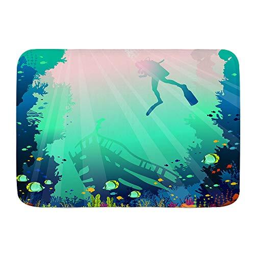 VAMIX Alfombra de Baño Antideslizante,Silueta de Barco hundido y Arrecife de Coral con Peces en un mar Azul,45x75cm Absorbente Tapete del Piso de Microfibra de Lavable a Máquina