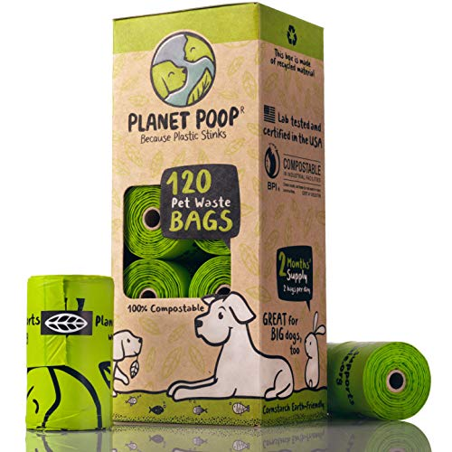 Biodegradable Poop Bags for Dogs, Compostable Dog Poop Bag, Doggy Waste Bags Unscented 9 x 16 Inches with Handles Thick Leak Proof Plant Based Refills. Highest Rated D6400 Supports Doggie & Pet Rescue