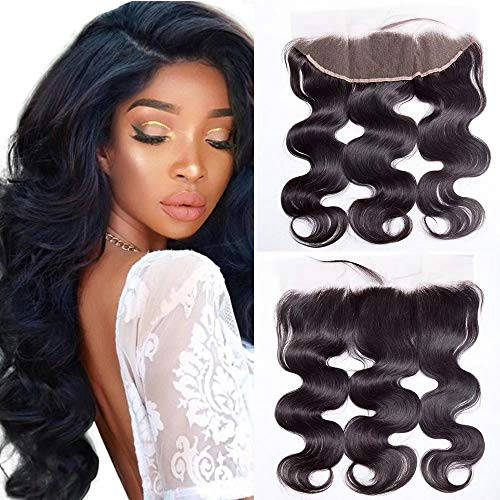 """Maxine Brazilian Virgin Hair Body Wave 13""""x4"""" Lace Frontal Closure Free Part Bleached Knots Natural Hairline with Baby Hair 130% Density Lace Frontal"""