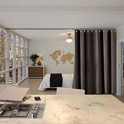 RoomDividersNow Premium Ceiling Track Room Divider Kit - Medium A, 8ft Tall x 4ft 6in - 6ft Wide (Dark Chocolate)