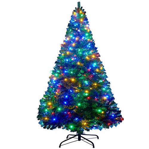 Blissun 6 ft Artificial Christmas Tree with 300 LED Multicolor String Lights (NOT Pre-Strung) 8 Lighting Modes Xmas Pine Tree for Indoor and Outdoor Holiday Christmas Decorations, 850 Tips