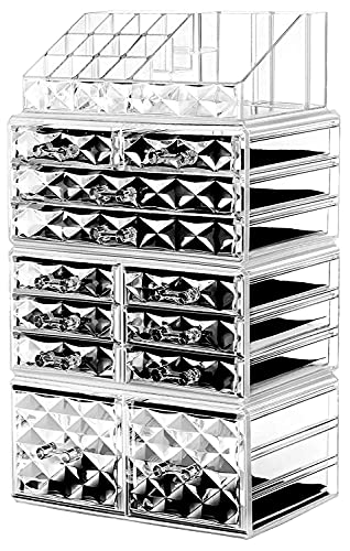 """HBlife Makeup Organizer Acrylic Cosmetic Storage Drawers and Jewelry Display Box with 12 Drawers, 9.5"""" x 5.4"""" x 15.8"""", 4 Piece, Clear"""