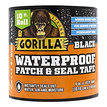 Gorilla 4612502 Waterproof Patch & Seal Tape 4  x 10  Black 1-Pack