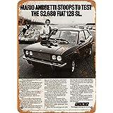 なまけ者雑貨屋 【Mario Andretti Fiat Reproduction】 ブリキ 看板 レトロ アメリカン 雑貨 ヴィンテージ風
