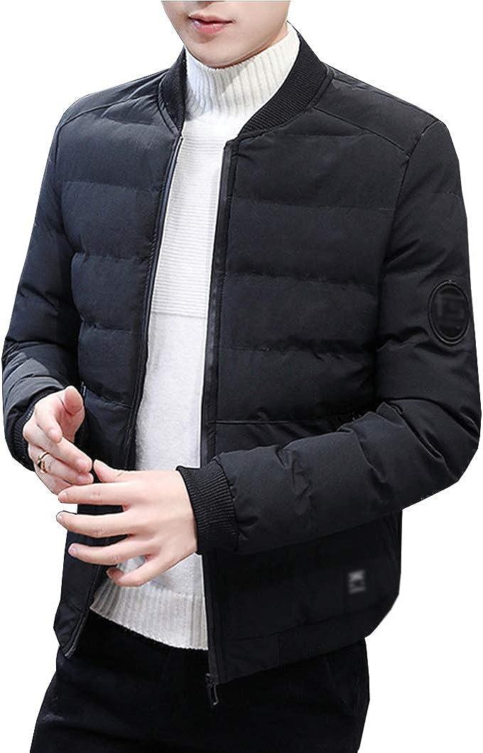 Duyang Men's Winter Down Cotton Coats Baseball Collar Quilted Jackets Outerwear