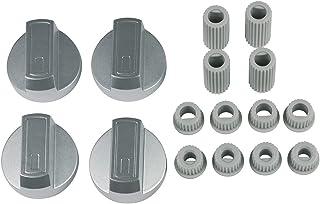 Europart 10032322 Lot de 4 boutons de commande rotatifs universels Argenté Ø 38 mm Avec adaptateurs pour plaque de cuisso...