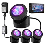 Pond Lights ,Submersible Lamp [6.5Meters,Set of 4] IP68 Underwater Aquarium Spot Light 48-LED