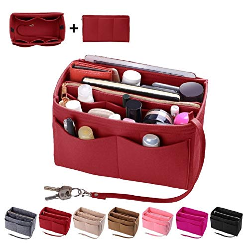 Purse Organzier, Bag Organizer with Metal Zipper (Medium, Red)