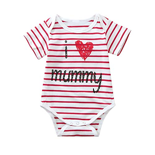 Zerototens Baby Girls Mother's Day Stripe Romper 0-24 Months I Love Mummy Letter Printed Long Sleeve One Piece Jumpsuit Toddler Infant Newborn Bodysuit Kids Onesies Outfits Red