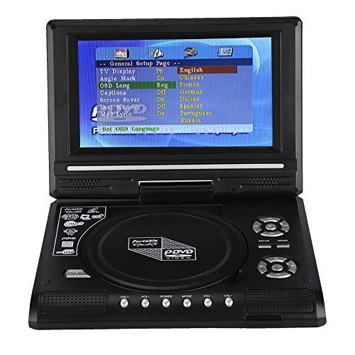 Tragbarer 7,8-Zoll-DVD-Player, 270-Grad-Schwenkbildschirm, wiederaufladbarer Akku, integrierte 3D-Soundverarbeitungsunterstützung, FM-Radio, AV-Kabel zur Synchronisierung des Fernsehgeräts(EU-Stecker)