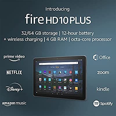 """Introducing Fire HD 10 Plus tablet, 10.1"""", 1080p Full HD, 32 GB, latest model (2021 release), Slate by Amazon"""