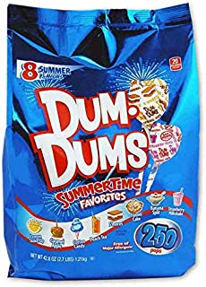 Dum-Dums Summertime Favorites Lollipop 2.7 Pounds! 8 Flavors: Funnel Cake, Banana Split, Smores And more! Gluten-Free, OU Kosher Certified And Free Of Major Allergens! Delicious Super Yummy Pops!