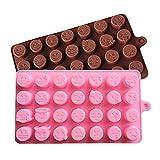 Efanty Pack of 2 28-Capacity Emoji DIY Pralinenformen Backwerkzeuge Cube Form Backblech Schimmel Silikon Schokolade Schimmel für Cookies Kuchen backen Sweet Jelly