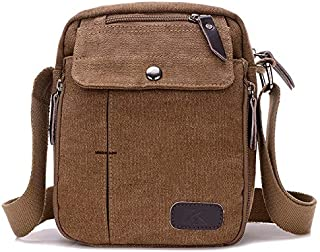 FYXKGLan Men and Women Casual Small Messenger Bag Korean Canvas Bag Shoulder Bag Men Bag Outdoor Multi-Function Travel Bag Tide (Color : Brown)