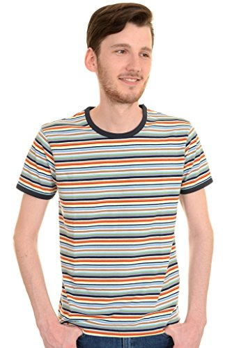 Run & Fly Mens 60s 70s Retro Multi Striped Ringer T Shirt Large