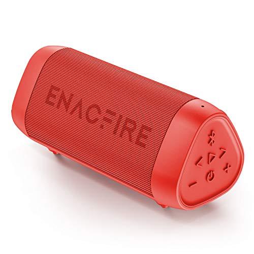 ENACFIRE SoundBar Mini Bluetooth Lautsprecher, 12W Kabellose Tragbare Musikbox mit Freisprechfunktion, 25 Stunden Spielzeit, 30m Bluetooth Reichweite, IPX7 Wasserdicht Rot