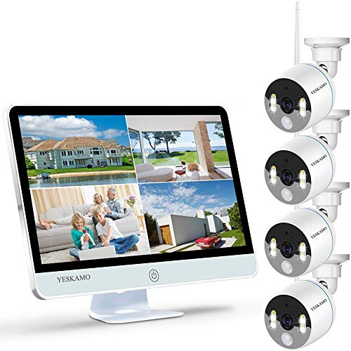 YESKAMO Wireless CCTV Camera System 3MP [ Floodlight & Monitor ] WiFi IP...