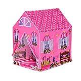 HOMCOM Kinderspielhaus Prinzessin Spielzelt Hausmuster 2 Türen ab 3 Jahren Rollenspiel Polyester Rosa 93 x 69 x 103 cm