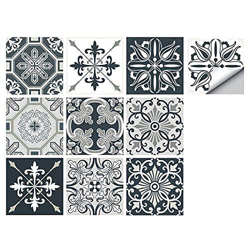 Pegatinas para azulejos grises, 10 pegatinas autoadhesivas para azulejos de pared, impermeables, para decoración de baño de cocina (30 x 30 cm, 10 unidades)