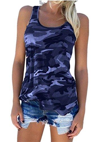 Women Camo Tank Top Summer Casual T- Shirt Running Muscle Workout Shirts Racerback Sleeveless Shirt Tops Navy XL