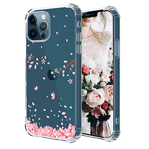 Hepix Compatible with Cherry Blossom iPhone 12Pro Max Case Pink Petals Flower iPhone Clear Case, Crystal Soft Flexible TPU Phone Cover Protective Bumpers Shock Absorbing iPhone 12 Pro Max 6.7' 2020
