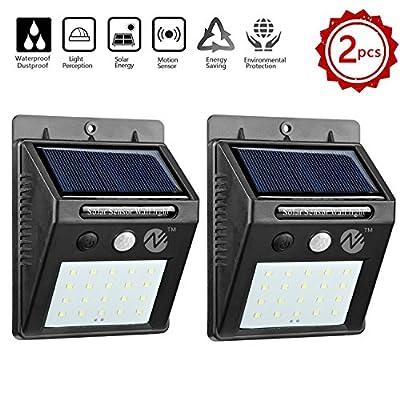 Zeben Solar Lights Outdoor Waterproof Wall Light 20 LED Flood Lighting Motion Sensor Auto On/Off Porch lights