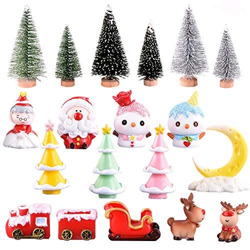 19 Pezzi Ornamenti in Miniatura di Natale Mini Statuette in Stile Natalizio Albero di Natale di Babbo Natale Simpatico Cartone Animato Decorazioni Natalizie per la Casa Decorazioni Style B
