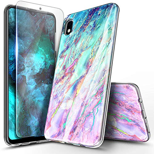 NageBee Case for Samsung Galaxy A10E with Tempered Glass Screen Protector, Ultra Slim Thin Glossy Stylish Protective Bumper Cover Phone Case (Not Fit Samsung Galaxy A10/A20) -Nova Marble